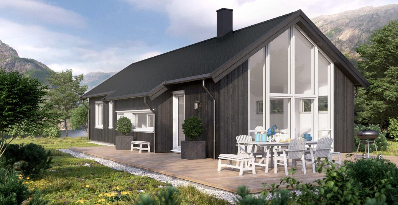Bersagel 1 er en hytte fra Systemhus som våre forhandlere over hele landet kan bygge for deg. Klassisk modell som passer like godt ved sjø som på fjellet. Hytten har egen avdeling som kan brukes av gjester eller gjøres om til bod.