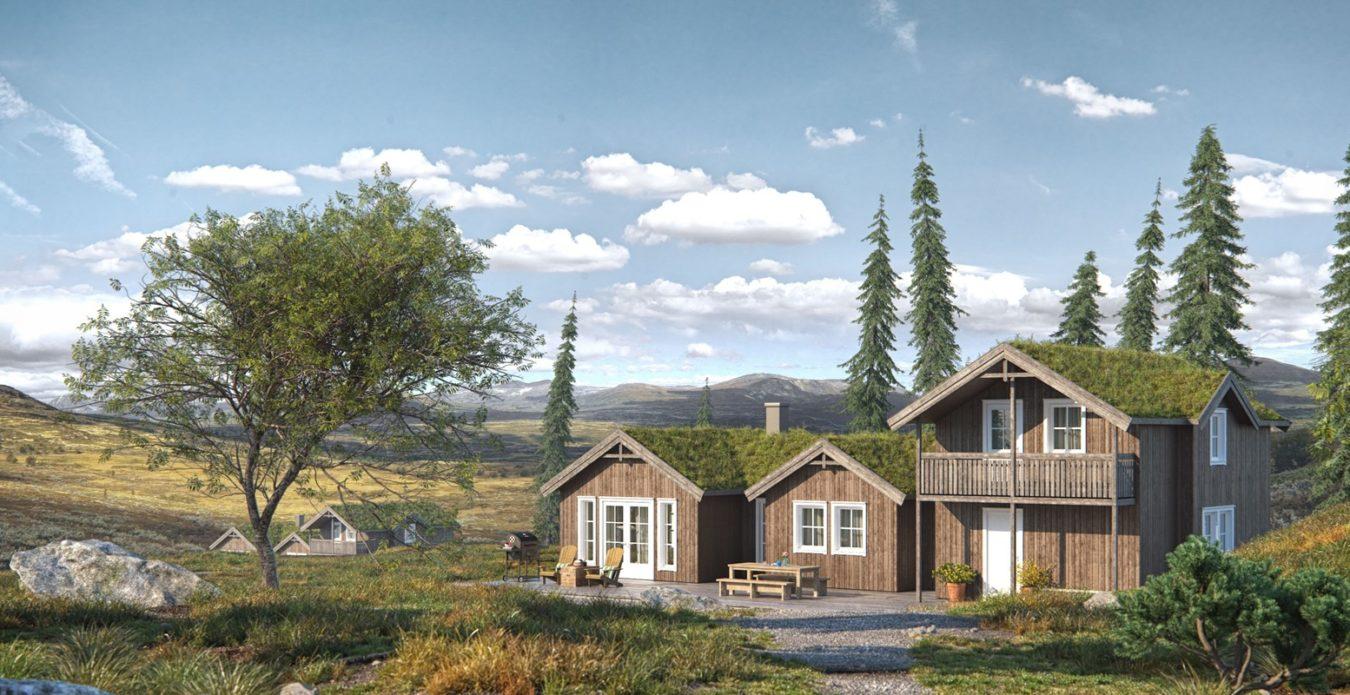 Fjellheim er en hytte fra Systemhus som våre forhandlere over hele landet kan bygge for deg. Eksklusiv fjellhytte med 3 stuer, stort kjøkken og 5 soverom. Her har du alle fasiliteter med fokus på velvære.