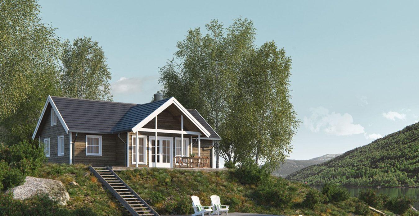 Lindevik 1 er en hytte fra Systemhus som våre forhandlere over hele landet kan bygge for deg. Lindevik 1 er en vinkelhytte med utbygget stueparti i front, stor hems med mulighet for å dele opp til to seperate sovealkover.