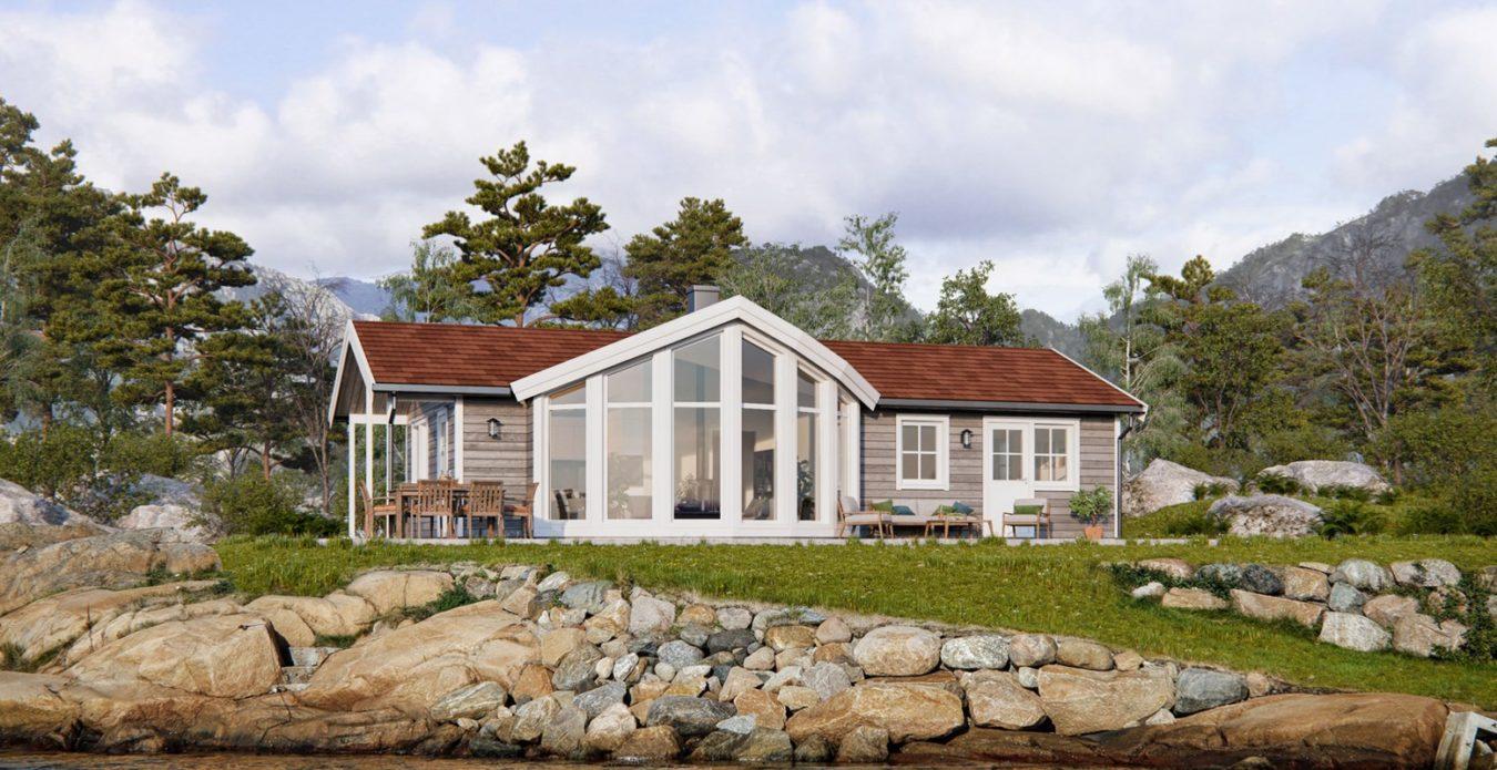 Panorama 1 er en hytte fra Systemhus som våre forhandlere over hele landet kan bygge for deg. Panorama 1 har store vinduer i front som gir godt utsyn og samtidig godt med lys inn i stuen. Hytten er en flott fritidsbolig hvor man kan ha mye glede av